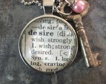 One Word Pendant with Vintage Key - Desire