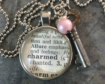 One Word Pendant with Vintage Key - Charmed