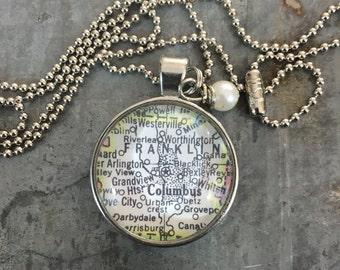 Map Pendant Necklace Columbus Ohio OH
