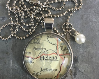 Map Pendant Necklace Helena Montana MT