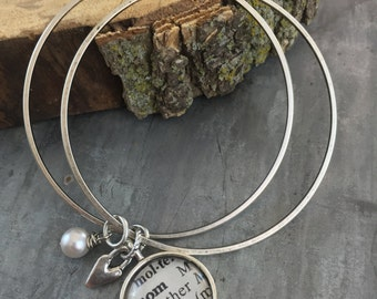 Happy Heart Mom Bangle Bracelet Set