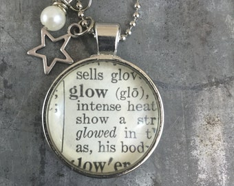 One Word Dictionary Necklace- Glow with Star Charm