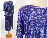 1980s sequin beaded skirt and top purple iridescent Megere silk made in India Size M