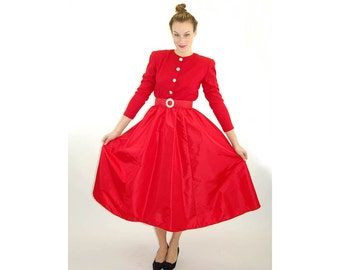 1980s dress red dress taffeta skirt wool top rhinestone belt formal dress full skirt Size M