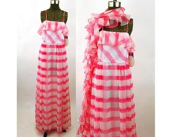 1960s gown pink white checked chiffon long dress with shawl NOS tags attached Size S Shannon Rodgers for Jerry Silverman