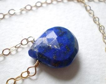 Lapis Lazuli Royal Blue Heart Teardrop Pendant Necklace in 14k Goldfill