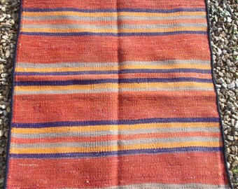 Smaller Striped Carpet Kilim/Mat. Hand woven tough wool. 3 ft 9 x 2 ft 2 .114 x 66 cm