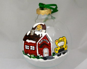 Hand Painted Ornament-Red Schoolhouse/Yellow Bus-Item 808