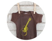 Brown Acoustic Guitar Baby Onepiece Bodysuit With Yellow Print, Cotton Baby Clothes, Unisex Clothing, Hand Screenprinted, Infant One Piece
