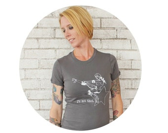 I'd hit that Funny Roller Derby Tshirt, Hand Printed, Screenprinted Tshirt, Short Sleeved Cotton Graphic Tee Shirt, Dark Grey Pin Up Girl