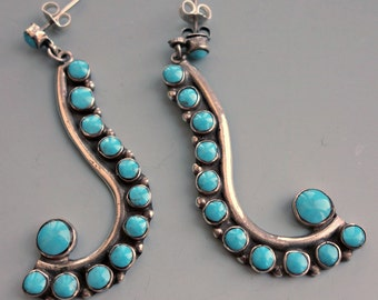 Fabulous Turquoise Sterling Mexico Earrings