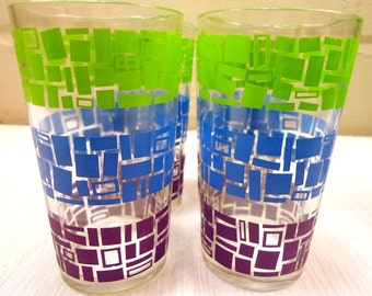 Vintage Mod Barware Drinking Glasses