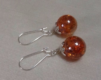 Fried marble earrings - upcycled vintage orange shattered glass marbles