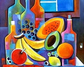 Cubist Abstract  painting Original Acrylic artwork Wine and Fruits by Marlina Vera Fine Art Gallery  sale Modern still life