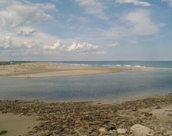 Beach Photograph - Ogunquit Maine Beach , Maine coast, summer, blue, brown, white, wall decor
