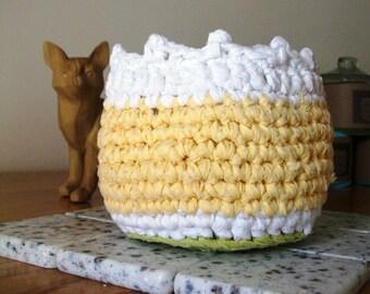 Basket, Cotton Crocheted Basket, Pistachio Green, Yellow, White
