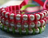 NEON Ribbon Bracelets. Sallie Ribbon Bracelet Trio. Statement Pearls. Cuff BRACELET.
