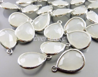 2 white opal glass tones with bezel setting pendants, jewellery designs wedding jewelry 5073R-WO (bright silver, white opal, 2 pieces)
