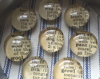 Dog - Glass Magnets made from Vintage Dictionary