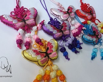 Embroidery Chinese style Butterfly Sachet with lucky hoop.6 colors.