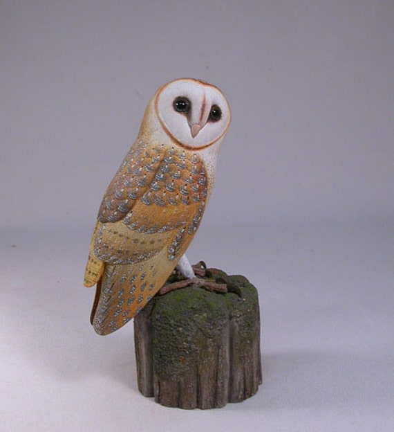 Barn owl wood carving