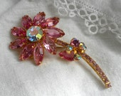 Reserved for onevintagegal Juliana Pink Rhinestone Flower Brooch Aurora Borealis