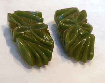 Bakelite Dress Clips Pair Green Deeply Carved Floral