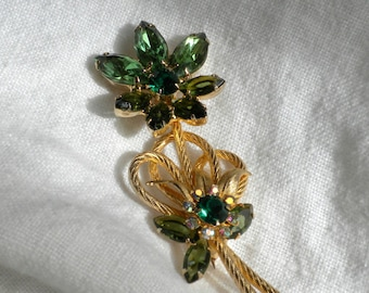 Juliana Rhinestone Flower Brooch Shades of Green Venus Flame