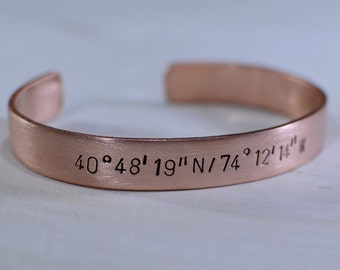Latitude longitude bracelet handmade in thick massive copper and personalized