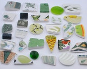 Broken China Mosaic Tiles - Green - Assortment - Cabochon Collection - Set of 30