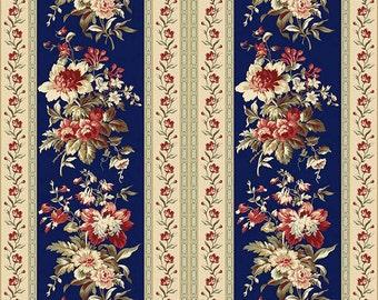 SALE, Maywood Fabrics, Northgate Manor, Navy Border Stripe, 1 yard