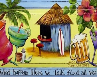 """TIKI BAR SIGN**Drinks, palm tree, whimsical saying  **  11"""" x17"""" Print of Original Acrylic on Canvas"""