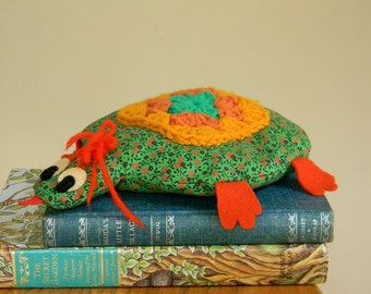 Vintage Handmade Turtle Plush Toy with Crocheted Granny Square
