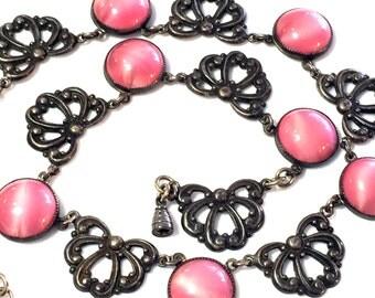 Beautiful Art Nouveau Art Deco Silver Marble Pink Art Glass Vintage Antique Necklace