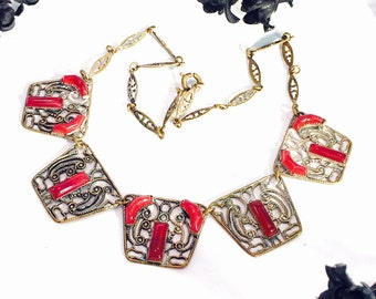 Beautiful Czech Art Deco Carnelian Czech Glass Filigree Brass Antique Necklace Art Deco Jewelry