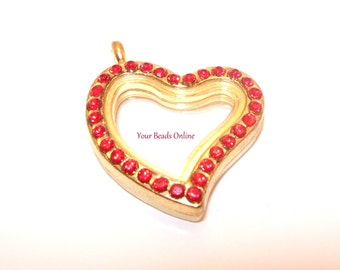 Stainless Steel Gold Floating Locket Heart Red with Rhinestones 32mm - Living Memory or Origami Owl Locket