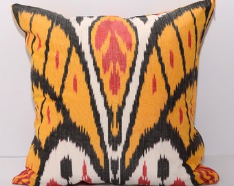 15x15 ikat cushion cover, yellow ikat pillow, yellow white pillow, ikat pillow