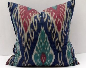 20x20, blue burgundy ikat pillow cover. cotton ikat pillow cover, ikat cushion, decorative pillow