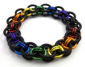 Pride Stretch Rainbow Helm Weave Chainmaille Bracelet