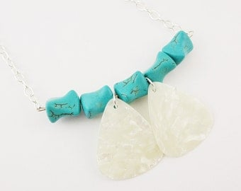 Guitar Pick Necklace Turquoise Howlite White Pearloid