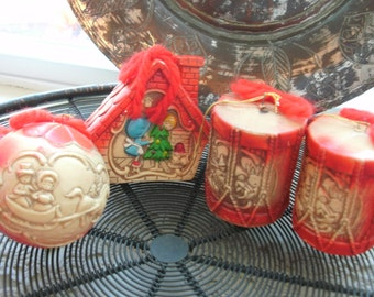 Celluloid Christmas Ornaments Set of Four Embossed And Painted  Red  Strings FREE SHIPPING