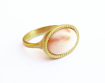 White Coral Ring, 18K Gold Ring, Signature Ring, yellow gold ring, Coral Jewelry