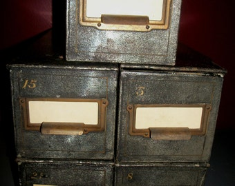 Vintage Metal Top Hinge Safety Deposit Box