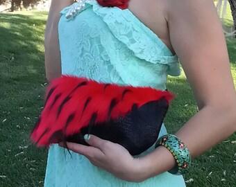 Goth Clutch Bag/ zipper clutch purse /red black purse /vegan faux fur /Sexy unique / teen girl soft goth clutch bag/ RTS/ Item # CJF07-1001