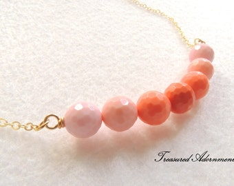 Coral Beads Necklace, wire wrapped, Pink Coral, Bridesmaids jewelry, Thank you gift,  Romantic Necklace, Valentines Day Gift for her