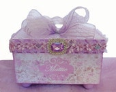 Girls Personalized Trinket Jewelry Treasure Box Lavender and Lace