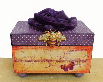 Decorated Keepsake  Jewelry Trinket Box Amethyst Sunset Bumble Bee