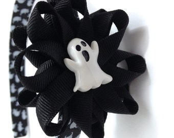 Halloween Ghost Hair Bow Headband