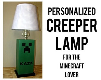 CREEPER Table Lamp - Minecraft, Unique Kids Bedroom Decor, Children's Lamp