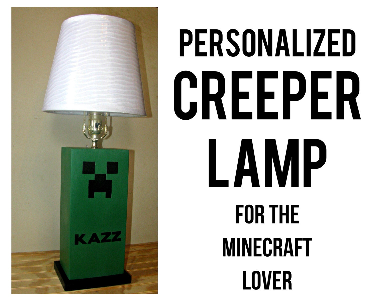 CREEPER Table Lamp Minecraft Unique Kids By HappywoodGoods